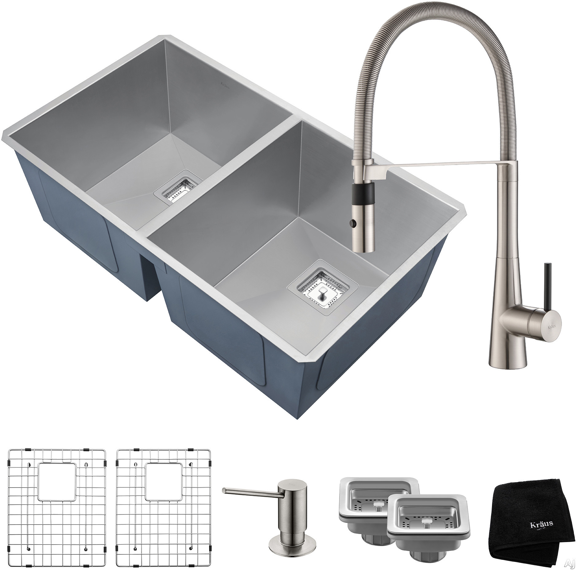 """Kraus Pax Series KHU322273041SS 31 Inch Double Bowl Kitchen Sink and Commercial Faucet Combo with NoiseDefendâ""""¢, 16-Gauge Stainless Steel and Commercial Grade Finish: Stainless Steel"""