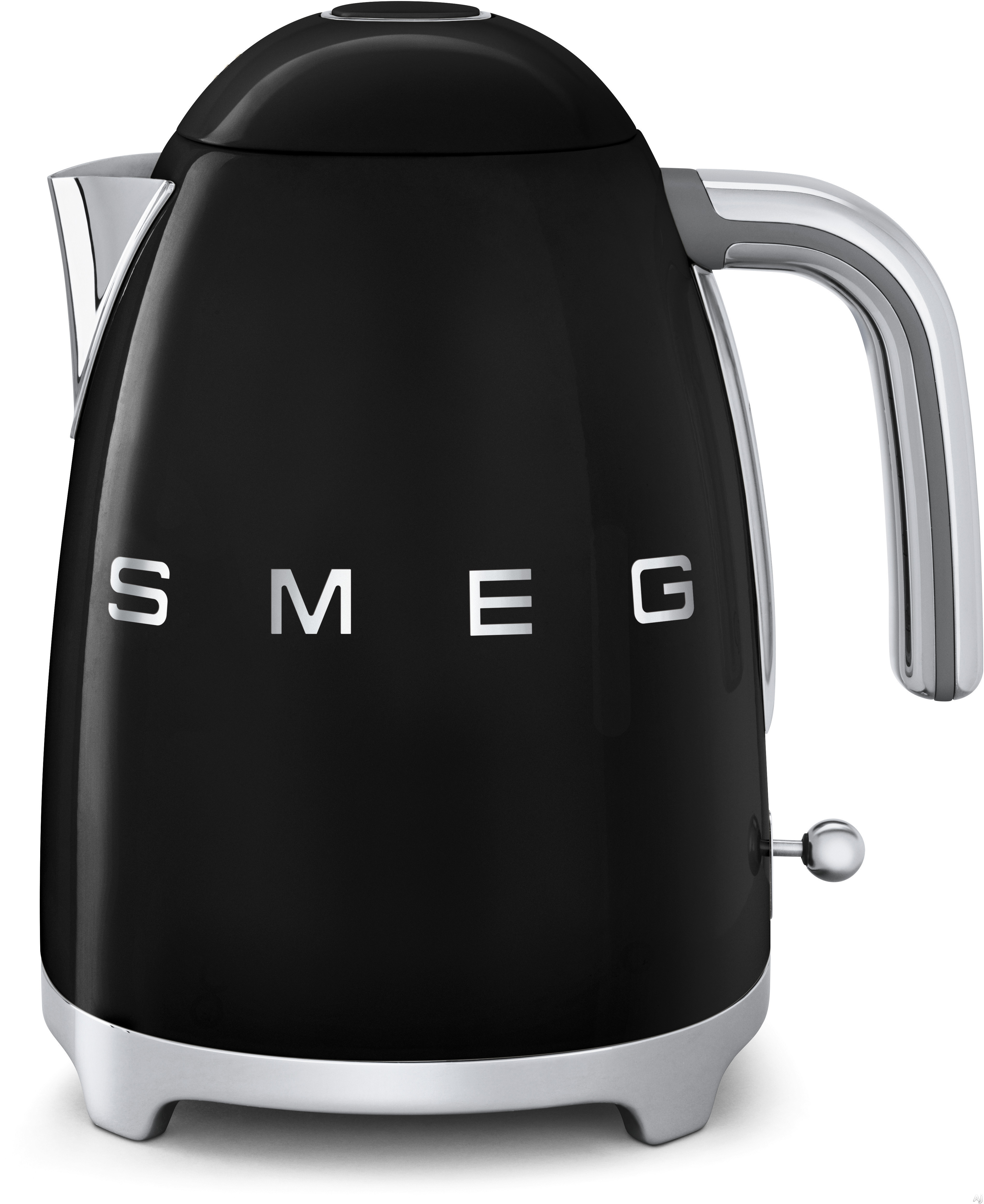 Smeg 50 s Retro Design KLF01BLUS Electric Kettle with 56 oz. Capacity Soft Opening Lid Auto Shut Off 360 Degree Swivel Base Anti Slip Feet and Built in Cord Wrap Black
