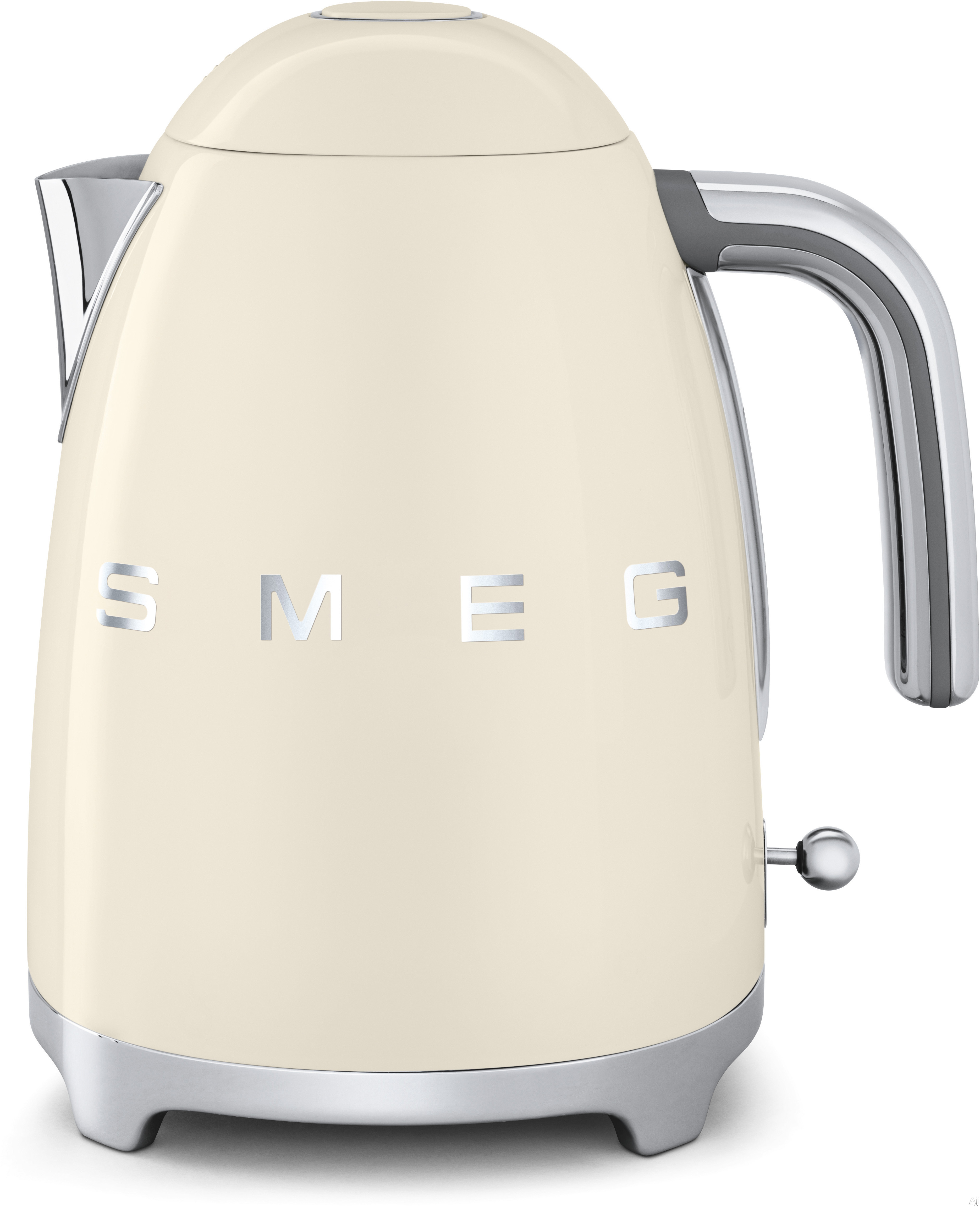 Smeg 50 s Retro Design KLF01CRUS Electric Kettle with 56 oz. Capacity Soft Opening Lid Auto Shut Off 360 Degree Swivel Base Anti Slip Feet and Built in Cord Wrap Cream