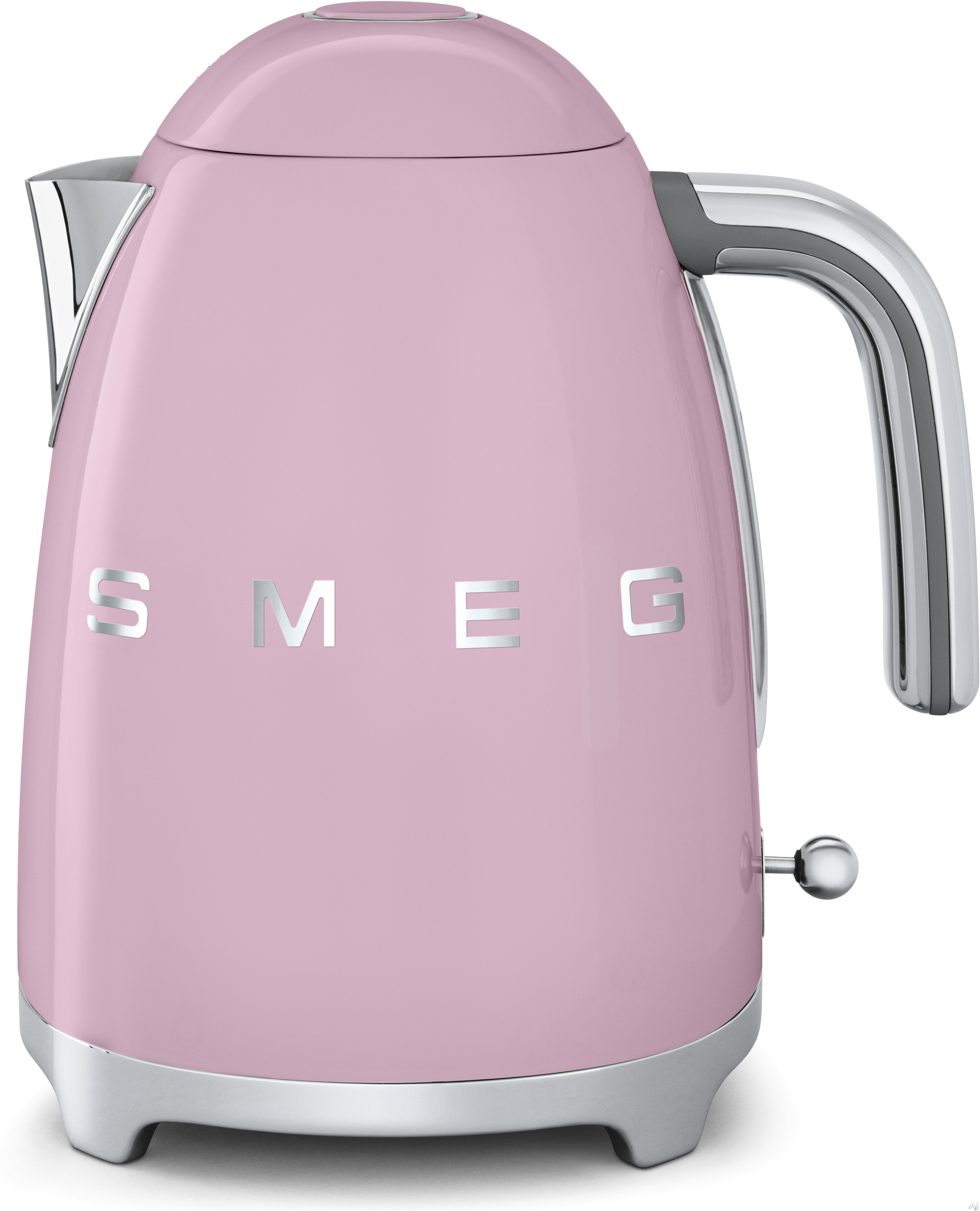 Smeg 50 s Retro Design KLF01PKUS Electric Kettle with 56 oz. Capacity Soft Opening Lid Auto Shut Off 360 Degree Swivel Base Anti Slip Feet and Built in Cord Wrap Pink