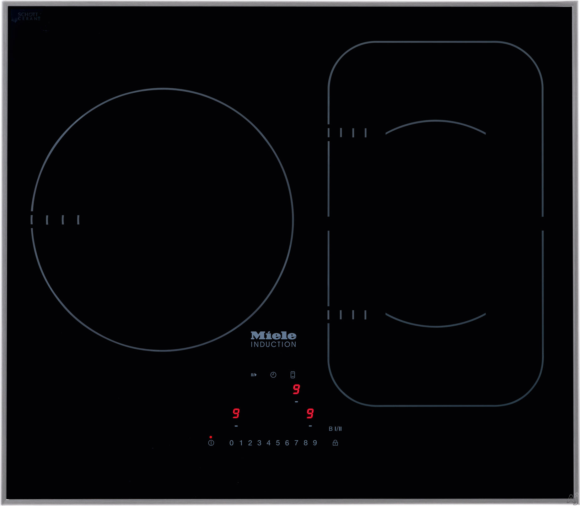 Miele KM6320 24 Inch Induction Cooktop with 3 Cooking Zones, Twin Booster Function, PowerFlex Technology, Con@ctivity 2.0 Cooktop/Hood Communication and Direct Selection Plus Control