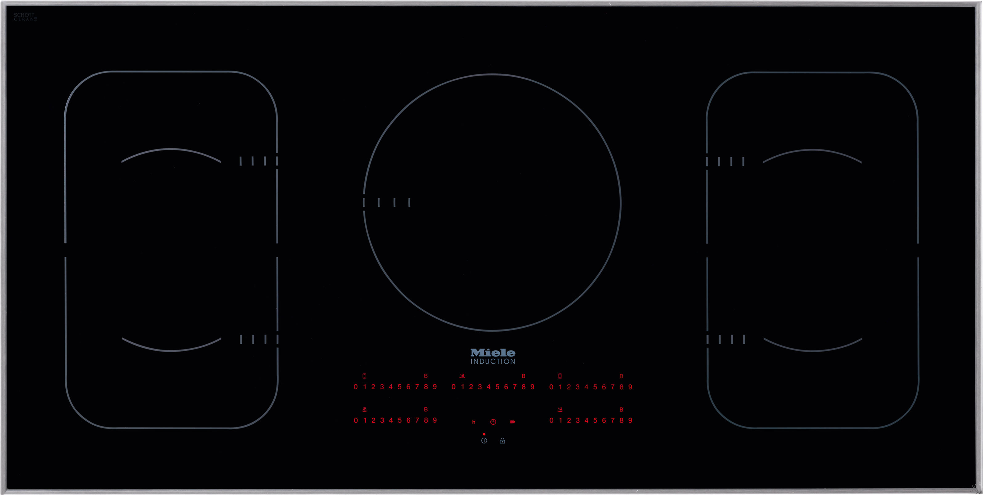Miele KM6377 42 Inch Induction Cooktop with 5 Cooking Zones, Twin Booster Function, PowerFlex Technology, Con@ctivity 2.0 Cooktop/Hood Communication and Direct Selection Plus Control