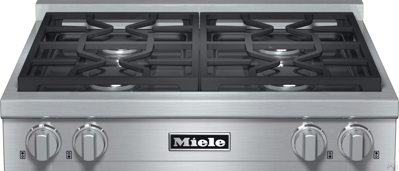 Image of Miele KMR1124G 30 Inch Pro-Style Gas Rangetop with 4 Sealed M Pro Dual Stacked Burners, TrueSimmer Function, Dishwasher-Safe Grates, Automatic Re-Ignition and Backlit Knobs: Natural Gas