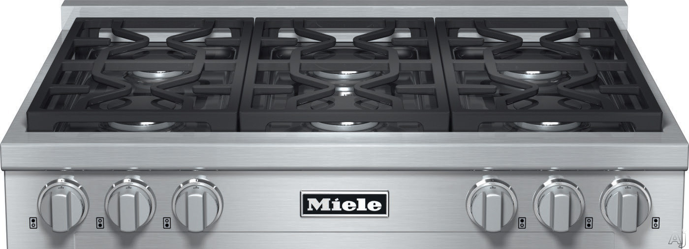 Miele KMR1134 36 Inch Pro-Style Gas Rangetop with 6 Sealed M Pro Dual Stacked Burners, TrueSimmer Function, Dishwasher-Safe Grates, Automatic Re-Ignition and Backlit Knobs