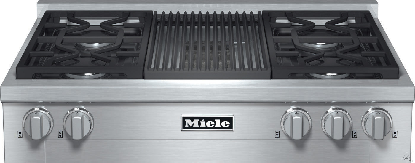 Miele KMR1135G 36 Inch Pro-Style Gas Rangetop with 4 Sealed M Pro Dual Stacked Burners, TrueSimmer, Dishwasher-Safe Grates, Automatic Re-Ignition, Backlit Knobs and M Pro Grill: Natural Gas