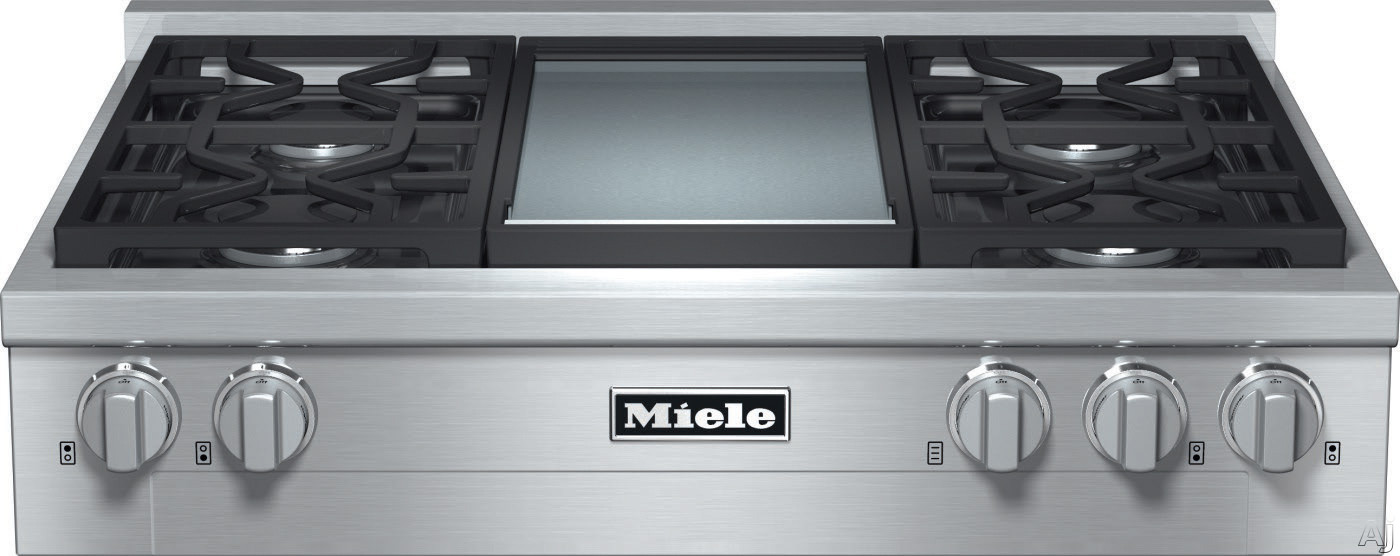 Miele KMR1136 36 Inch Pro-Style Gas Rangetop with 4 Sealed M Pro Dual Stacked Burners, TrueSimmer, Dishwasher-Safe Grates, Automatic Re-Ignition, Backlit Knobs and M Pro Griddle