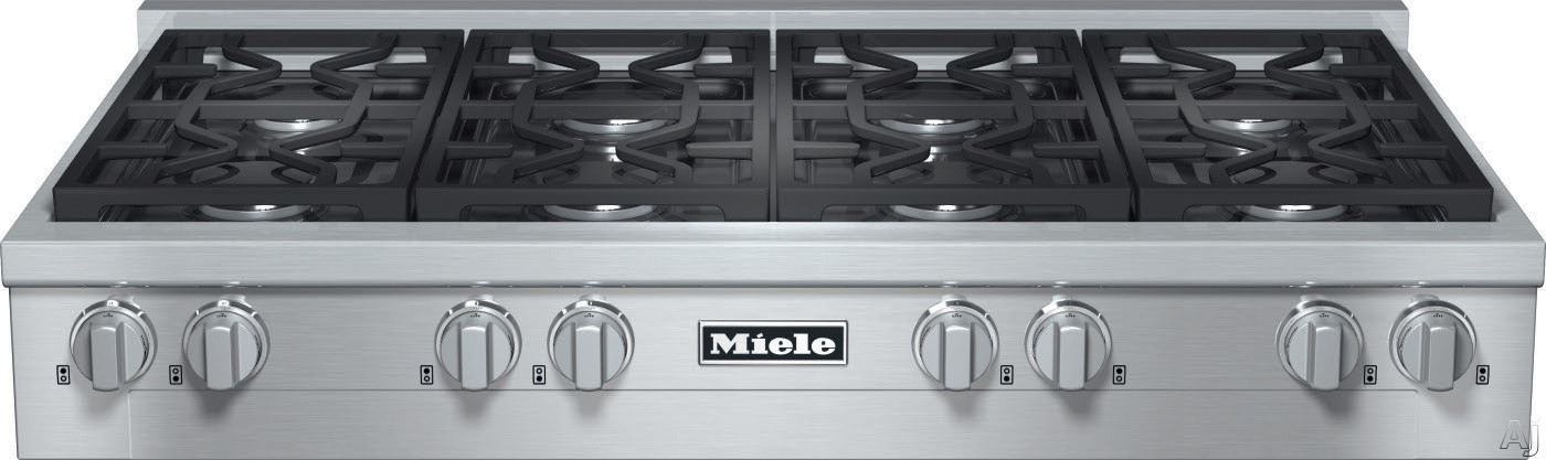 Miele KMR1354G 48 Inch Pro-Style Gas Rangetop with 8 Sealed M Pro Dual Stacked Burners, TrueSimmer, Dishwasher-Safe Grates, Automatic Re-Ignition and Backlit Knobs: Natural Gas