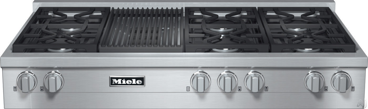 Miele KMR1355 48 Inch Pro-Style Gas Rangetop with 6 Sealed M Pro Dual Stacked Burners, TrueSimmer, Dishwasher-Safe Grates, Automatic Re-Ignition, Backlit Knobs and M Pro Grill