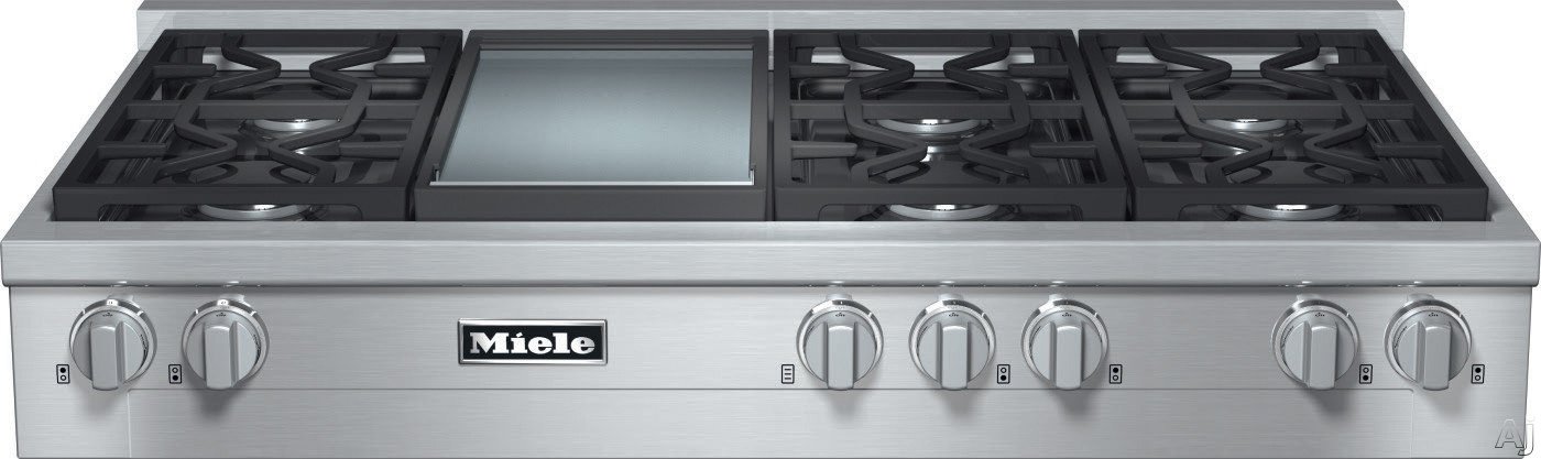 Miele KMR1356 48 Inch Pro-Style Gas Rangetop with 6 Sealed M Pro Dual Stacked Burners, TrueSimmer, Dishwasher-Safe Grates, Automatic Re-Ignition, Backlit Knobs and M Pro Griddle