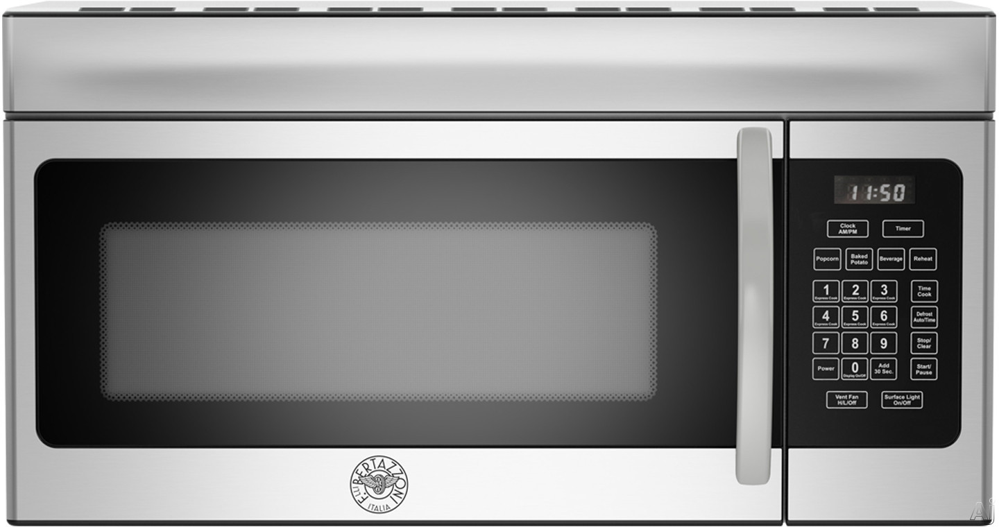 Image of Bertazzoni Professional Series KOTR30X 1.6 cu. ft. Over-the-Range Microwave with Sensor Reheat, Sensor Defrost, 10 Power Levels, 1,000 Watts of Power and 300 CFM