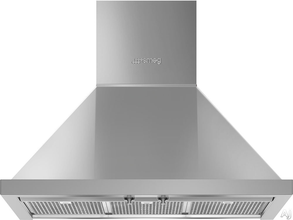 Smeg Portofino KPF30UX 30 Inch Wall Mount Chimney Hood with Recirculating Option, Control Knobs, LED Lights, 4 Speeds, Stainless Steel Filters and 600 CFM: Stainless Steel