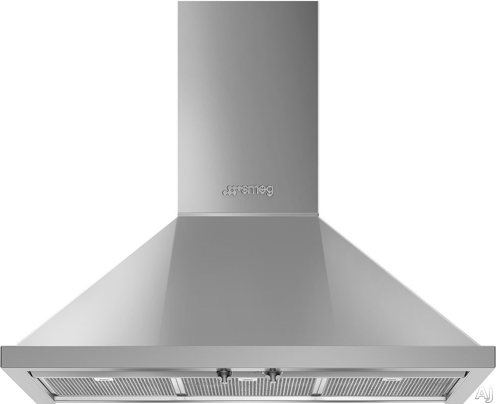 Smeg Portofino KPF36UX 36 Inch Wall Mount Chimney Hood with Recirculating Option, Control Knobs, LED Lights, 4 Speeds, Stainless Steel Filters and 600 CFM: Stainless Steel