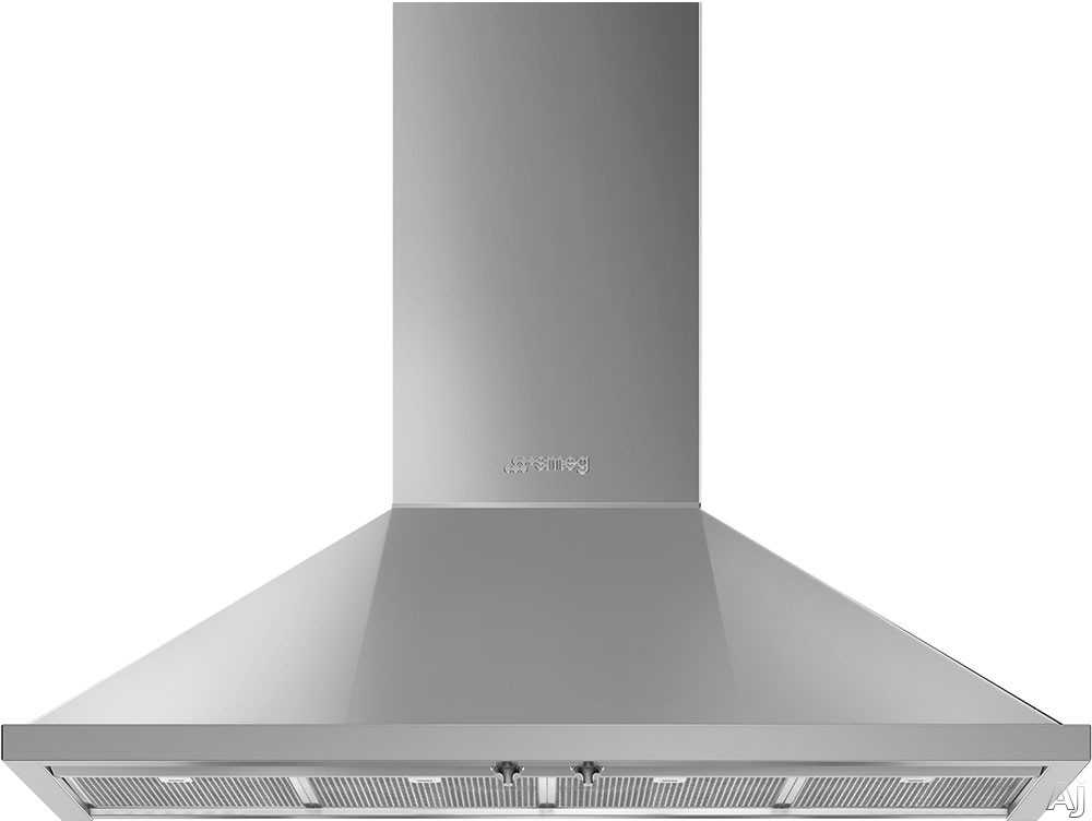 Smeg Portofino KPF48UX 48 Inch Wall Mount Chimney Hood with Recirculating Option, Control Knobs, LED Lights, 4 Speeds, Stainless Steel Filters and 600 CFM: Stainless Steel