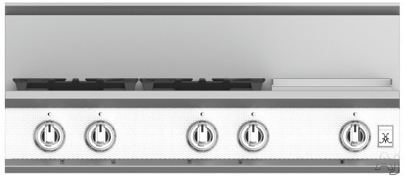 "Hestan KRT364GDLPWH 36 Inch Rangetop with 4 Sealed Burners, 12 Inch Griddle, Cast-Iron Continuous Grates, Backlit Control Knobs and Marquiseâ""¢ Control Panel: Liquid Propane / Froth"