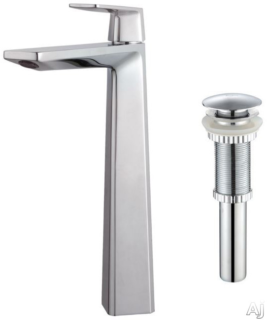 Kraus Aplos Series KEF15300PU10CH Single Handle Bathroom Faucet with 6 Inch Reach Solid Brass Construction and Rust Resistant Finish Chrome