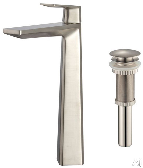 Kraus Aplos Series KEF15300PU10BN Single Handle Bathroom Faucet with 6 Inch Reach Solid Brass Construction and Rust Resistant Finish Brushed Nickel