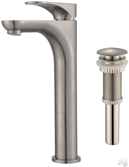 Kraus Aquila Series FVS13900PU10BN Single Handle Bathroom Faucet with 5 Inch Reach All Metal Construction and Rust Resistant Finish Brushed Nickel
