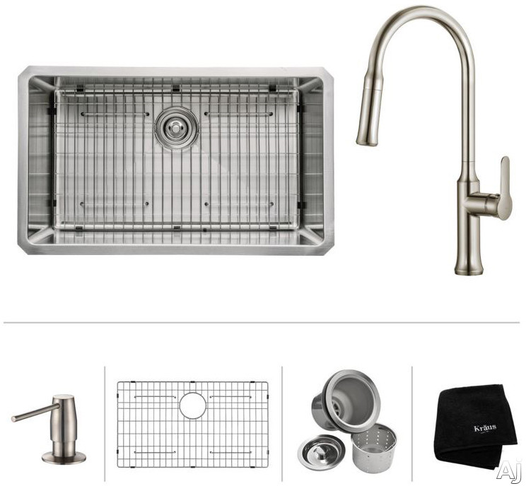 Image of Kraus Nola Series KHU10030163042SS 30 Inch Undermount Stainless Steel Sink with 16-Gauge, NoiseDefend Sound Dampening System, Non-Porous Corrosion-Resistant Surface, Extra-Deep Basin Design, 8 Inch Spout Reach, Swiveling Spout and Soap Dispenser: Stainles
