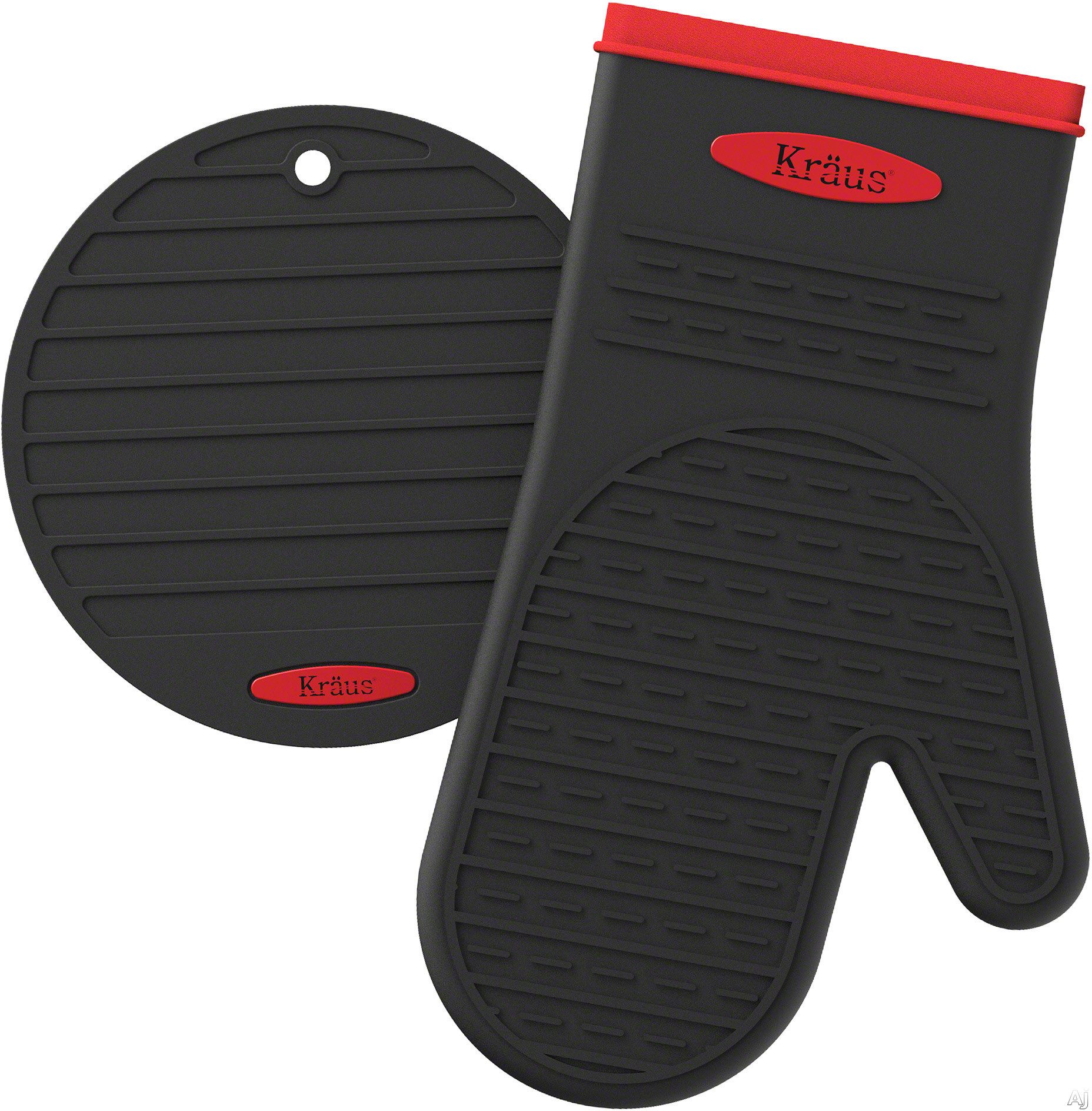 Image of Kraus KST1BKSM1B Heat-Resistant Silicone Non-Slip Oven Mitt and Trivet with Heat Resistant, Waterproof and Multifunctional