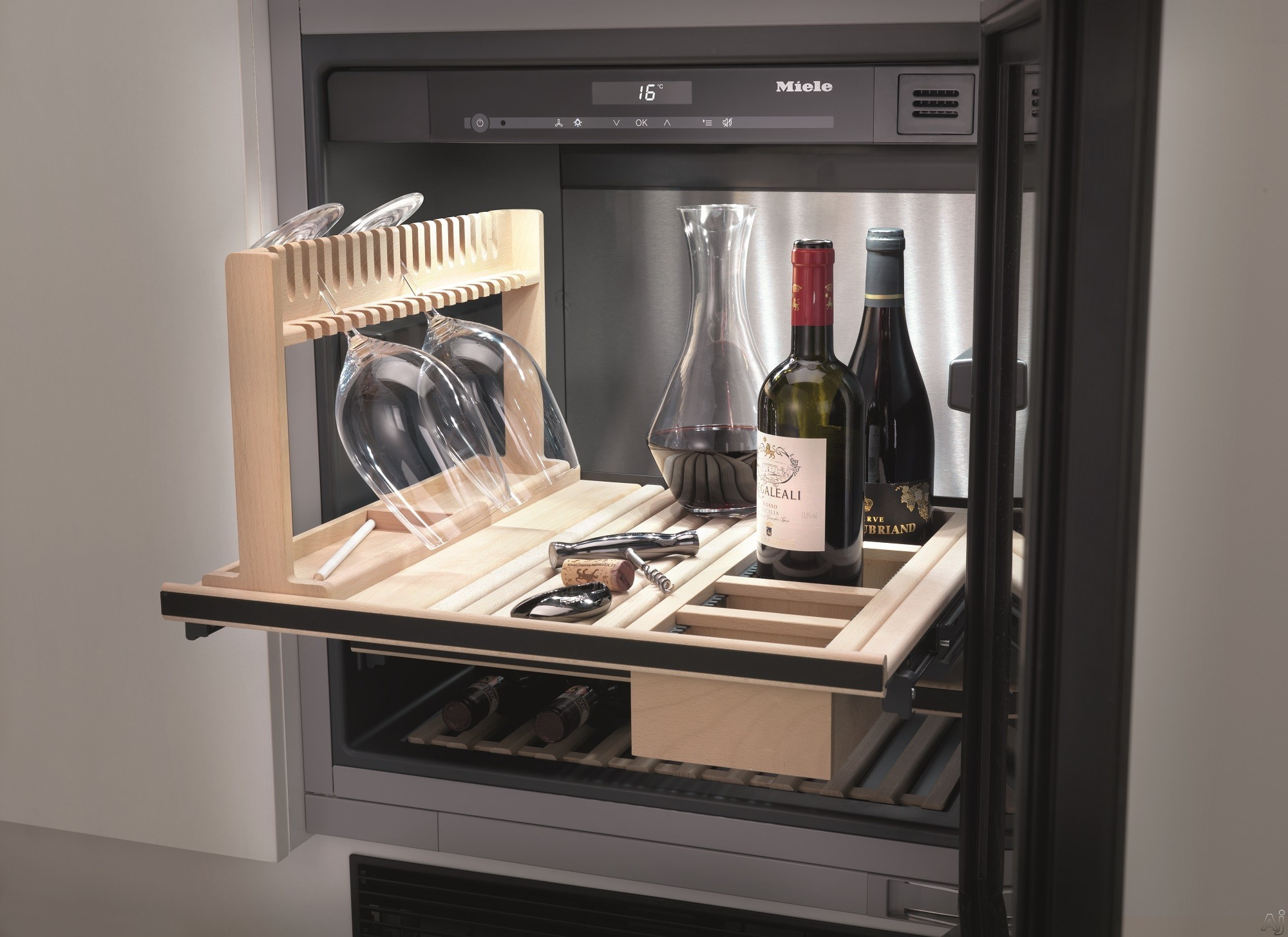 Miele kwt6312ugs 24 built in undercounter wine storage for Sideboard mit glas