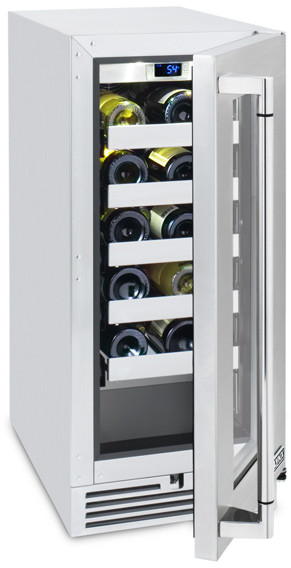 Lynx L15WINE 15 Inch Outdoor Wine Cellar with 20-Bottle Capacity, Programmable Digital Temperature Control and Low-E UV Resistant Glass Door