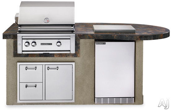 Lynx Sedona Series L2500 30 Inch Delux Sedona Island Package with 30 Inch Grill with ProSear and Rotisserie, 4.1 cu. ft. Refrigerator, Single Side Burner and 30 Inch Double Drawer/ Access Door Combo