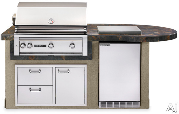Lynx Sedona Series L2600GLP 36 Inch Delux Sedona Island Package with Rotisserie, Pro Sear, 4.1 cu. ft. Refrigerator, Drawer/ Door Combo and Single Side Burner: Falcon Gray, Liquid Propane