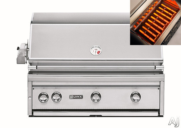 Lynx Professional Grill Series L36ASRLP 36 Inch Built-in Gas Grill with 935 sq. in. Cooking Surface, 3 ProSear2 Burners, 3-Speed Rotisserie, Hot Surface Ignition and Blue LED Control Illumination: Liquid Propane