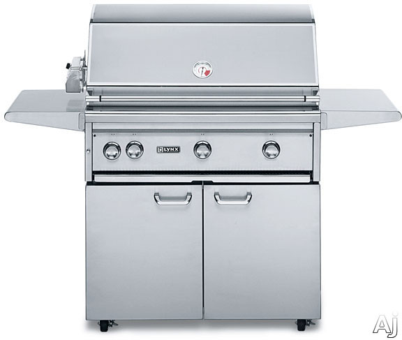 Lynx Professional Grill Series L36PSFR2 36 Inch Freestanding Gas Grill with 935 sq. in. Cooking Surface, 2 Red Brass Burners, ProSear2 Burner, 3-Speed Rotisserie, Hot Surface Ignition and Halogen Surface Light