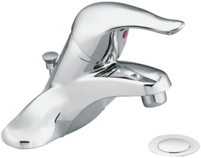"Moen Chateau L4621BC Single Lever Lavatory Faucet with 4-3/8"" Reach, 6-5/8"" Height, 1225 Cartridge Design, 1/2"" IPS Connections, Drain Assembly and ADA Complian"