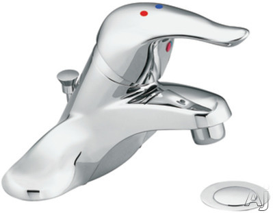 "Moen Chateau L4635 Single Lever Lavatory Faucet with 4-3/8"" Reach, 6-5/8"" Height, 1/2"" IPS Connections, Red/Blue Indicators and ADA Compliant: With Drain Assemb"