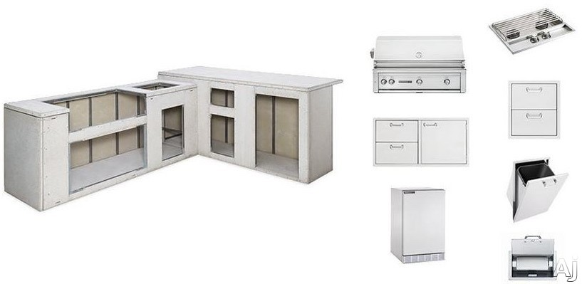 Lynx Sedona Series L7000NG Ready To Finish Outdoor Island Package with 42 Inch Sedona Grill with Rotisserie, Door Drawer Combination, Double Side Burner, Trash Center, Paper Towel Dispenser, Double Ut