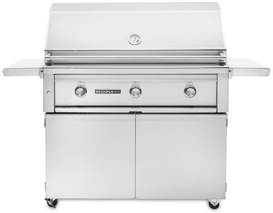 Lynx Sedona Series L700PSFNG 42 Inch Freestanding Grill with 69,000 BTU, 1049 sq. in. Cooking Surface, LED and Halogen Illumination, Ceramic Briquettes and Stainless Steel Grilling Grates: Natural Gas