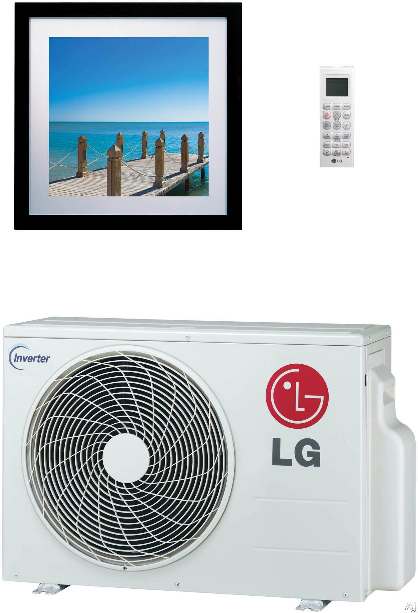 LG Art Cool Gallery LA090HVP 9,000 BTU Single Zone Wall-Mount Ductless Split System with 10,800 BTU Heat Pump, 12.5 EER, Inverter and R-410A Refrigerant (LAN090HVP Indoor/LAU090HVP Outdoor)