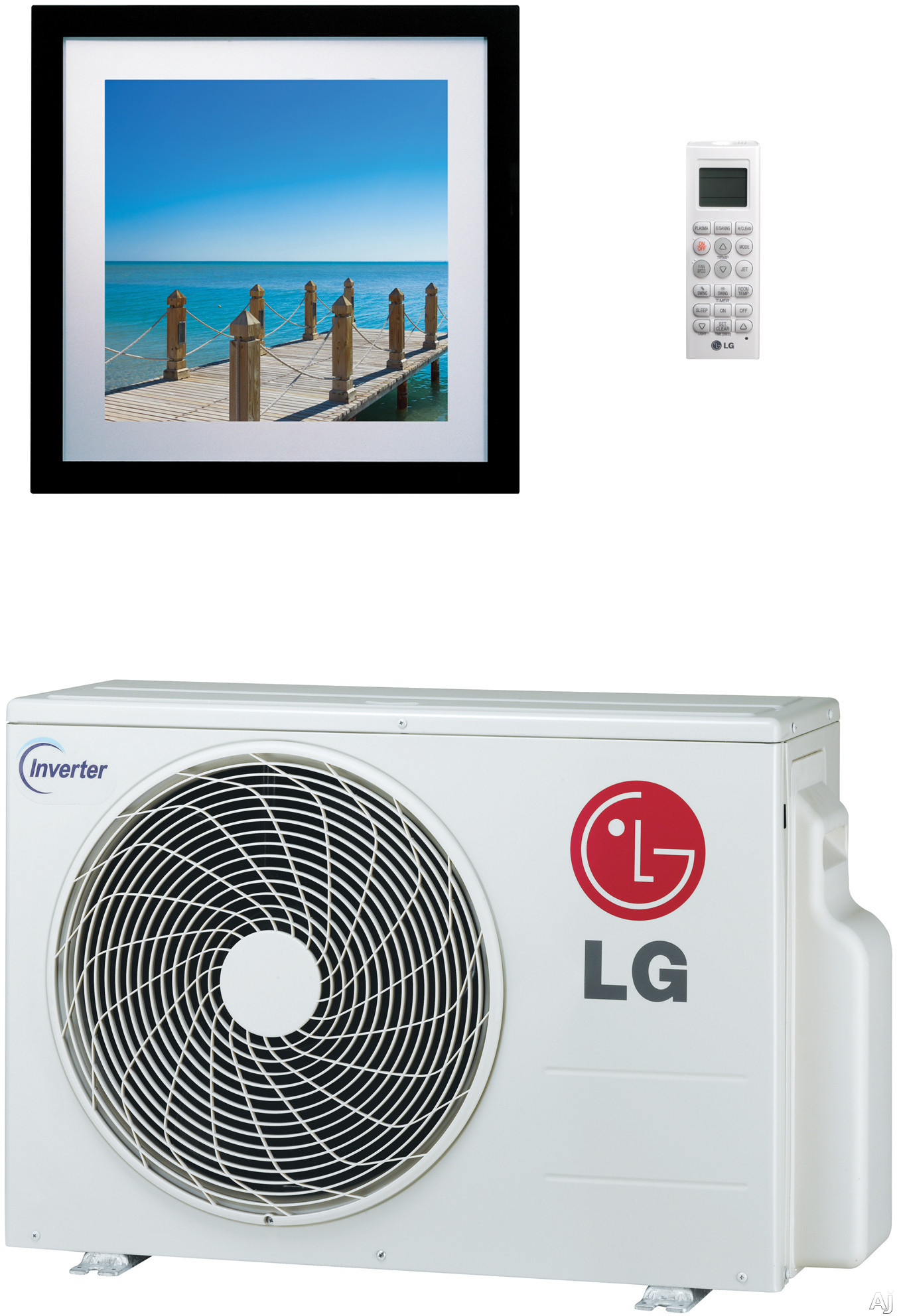 LG Art Cool Gallery LA120HVP 11,200 BTU Single Zone Wall-Mount Ductless Split System with 13,300 BTU Heat Pump, 12.0 EER, Inverter, ENERGY STAR and R-410A Refrigerant (LAN120HVP Indoor/LAU120HVP Outdoor) LA120HVP