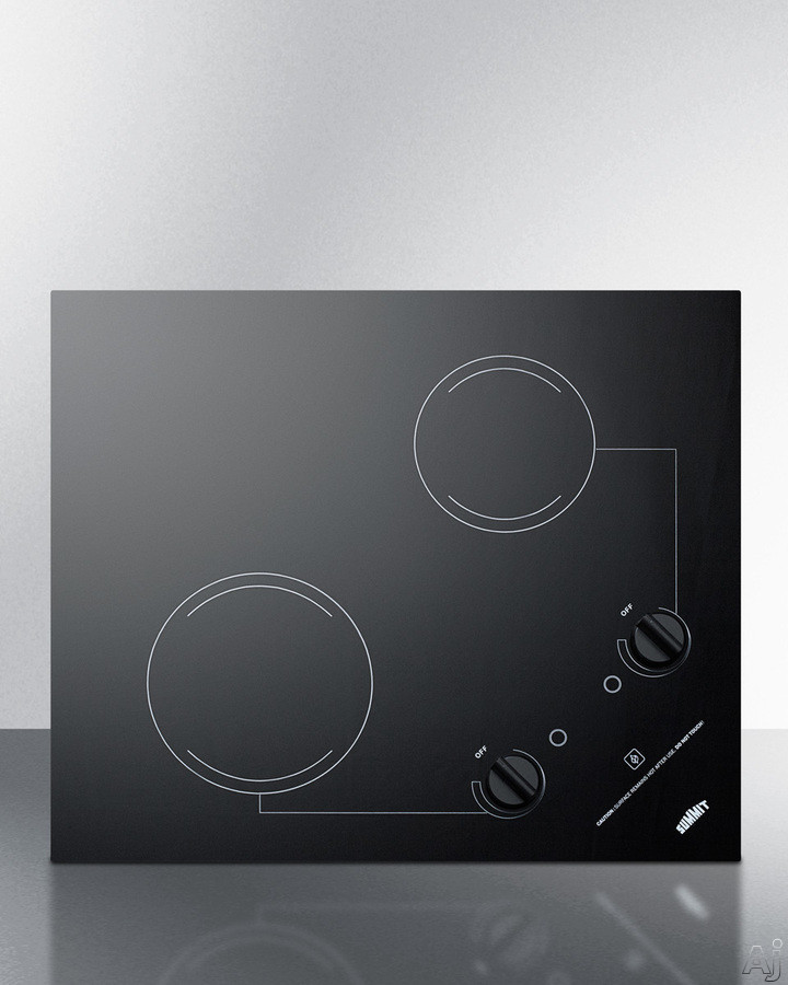 Summit CR2B223G 21 Inch Drop-In Electric Cooktop with 2 Heating Elements, Heat Indicator, Glass Surface, Push-to-Turn Knobs and Portrait or Landscape Installation