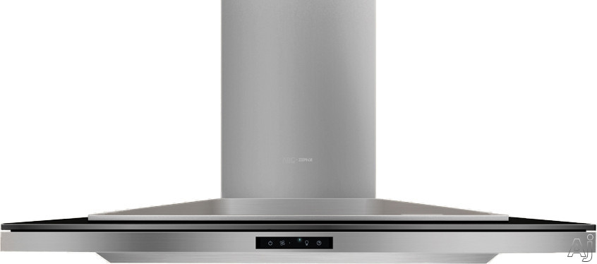 "Zephyr Arc Layers Collection ALAM90BBX 36 """"Wall Mount Chimney Range Hood with Blower Options, Glass Touch Controls, Tri-Level LED Lighting, Wireless Remote Control and Recirculating Option: 36 Inch Black Glass"" ALAM90BBX"