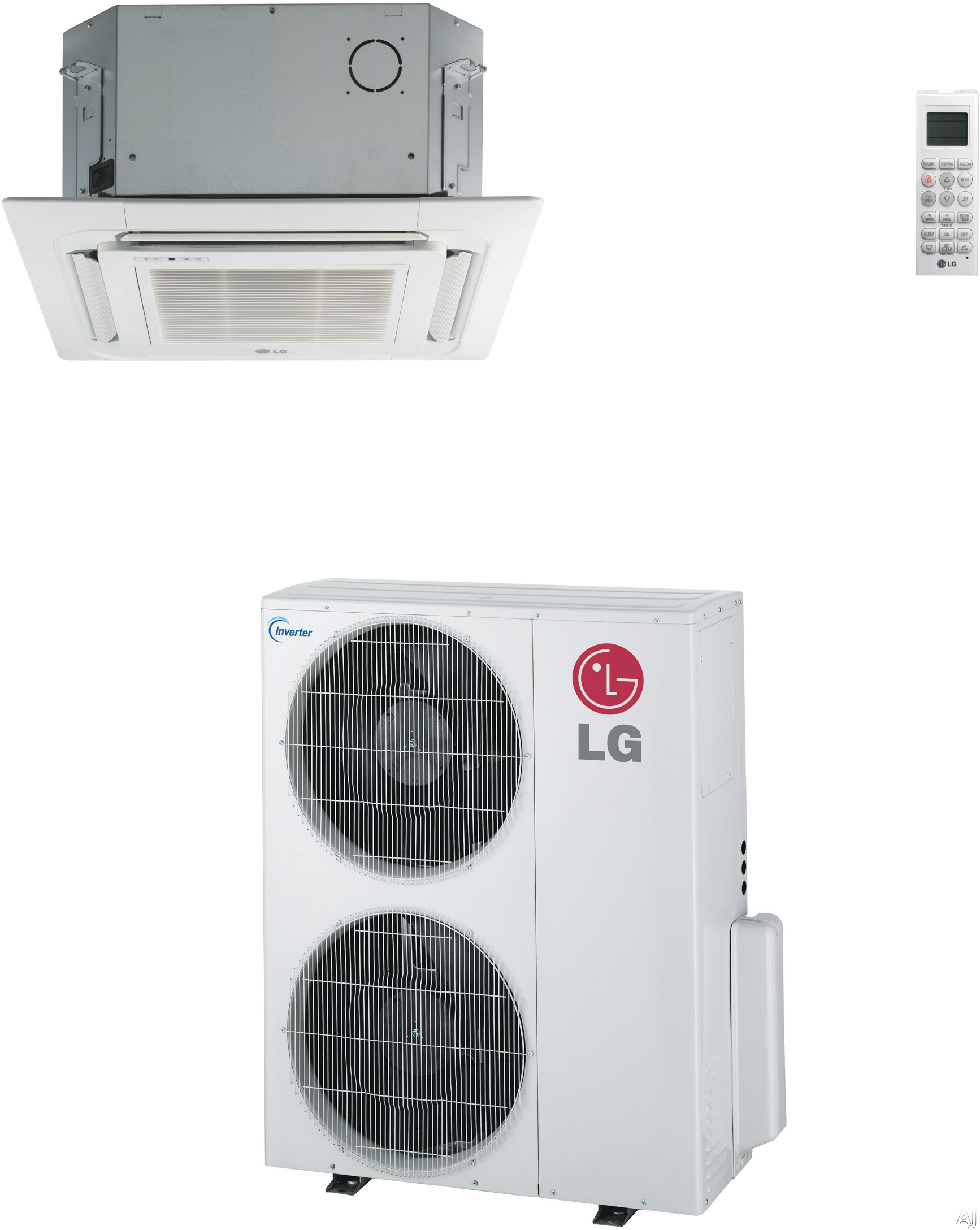 LG LC427HV 41,000 BTU Single Zone Ceiling Cassette Cool/Heat Pump Ductless Split System with Inverter, R-410A Refrigerant, 8.9 Energy Efficiency Ratio and Remote Controls (LCN427HV Indoor/LUU427HV Outdoor)