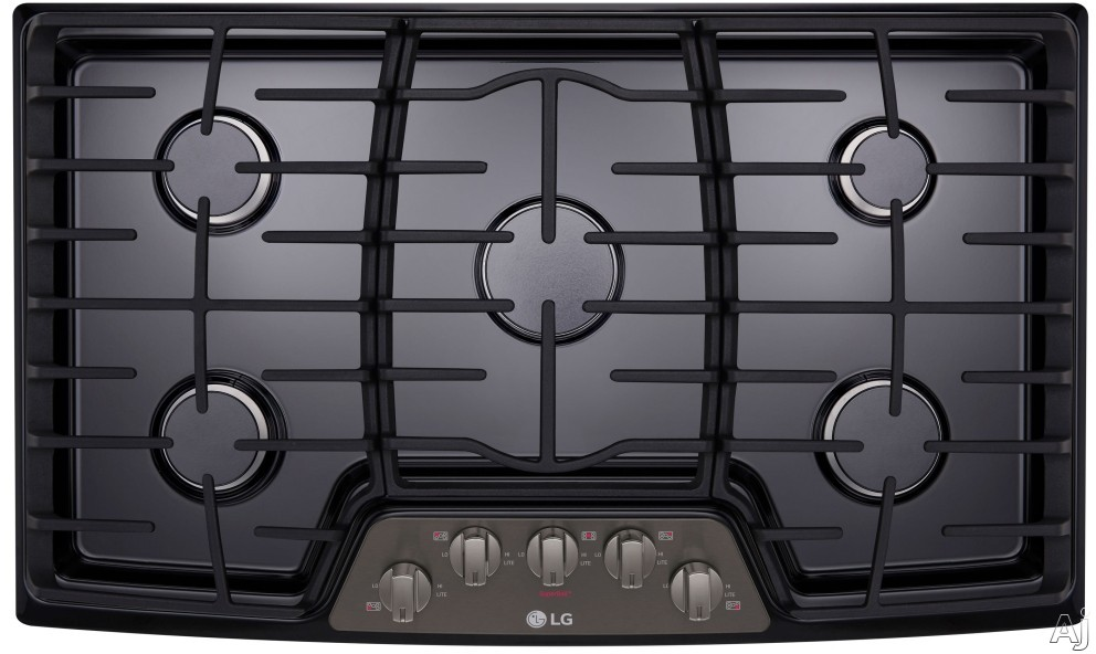 "LG LCG3611BD 36 Inch Gas Cooktop with SuperBoilâ""¢, 5 Sealed Burners, Heavy Duty Cast Iron Grates and Front Center Knob Controls: Black Stainless Steel"
