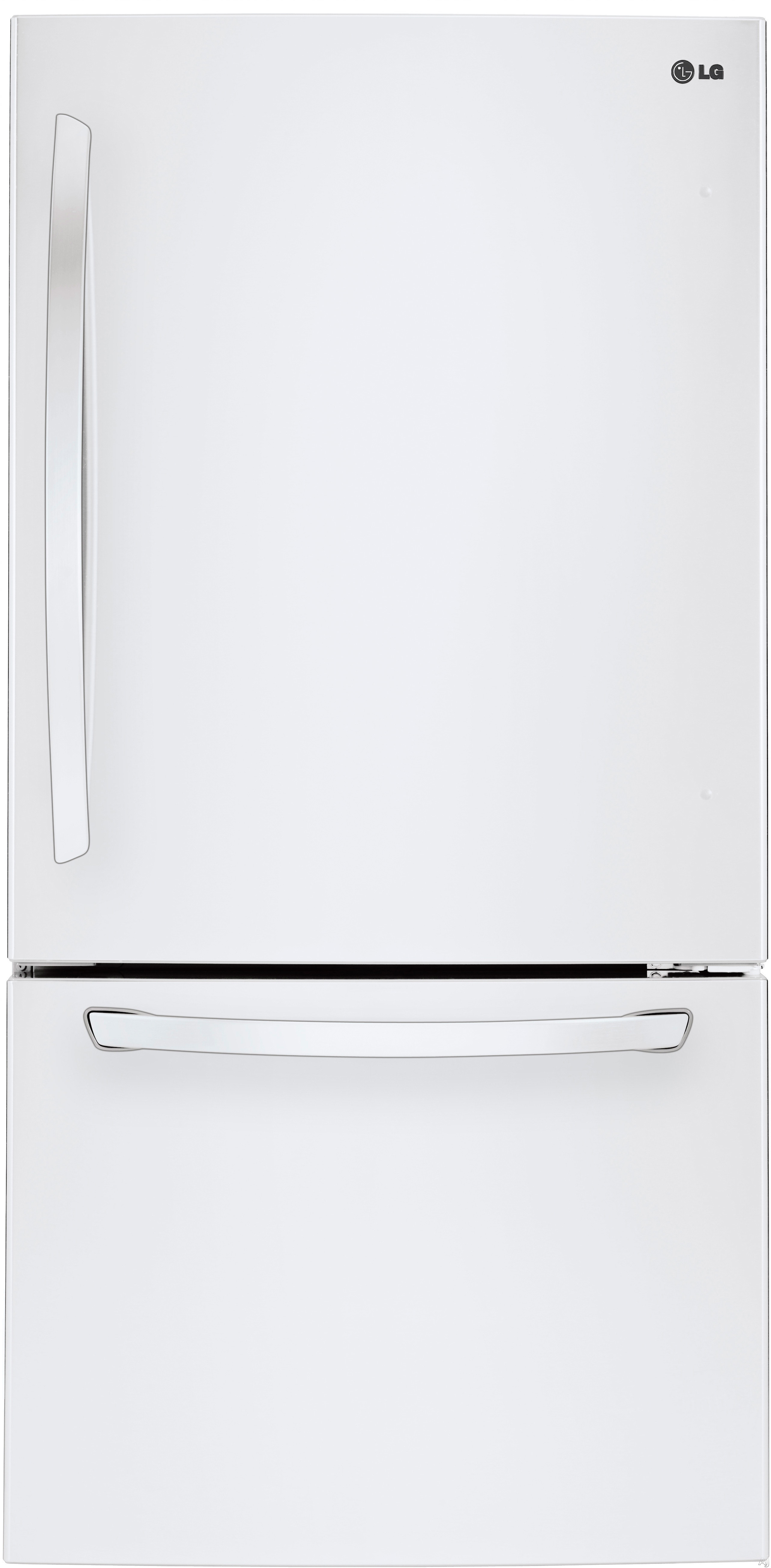 LG LDCS22220W 30 Inch Bottom Freezer Refrigerator with Linear Compressor, SmartDiagnosis™, Ice Maker, Door Alarm, Adjustable SpillProtector™ Shelves, Humidity-Controlled Crisper Drawers, 2-Tier Organization Freezer, ENERGY STAR® and 22 cu. ft. Capacity: White