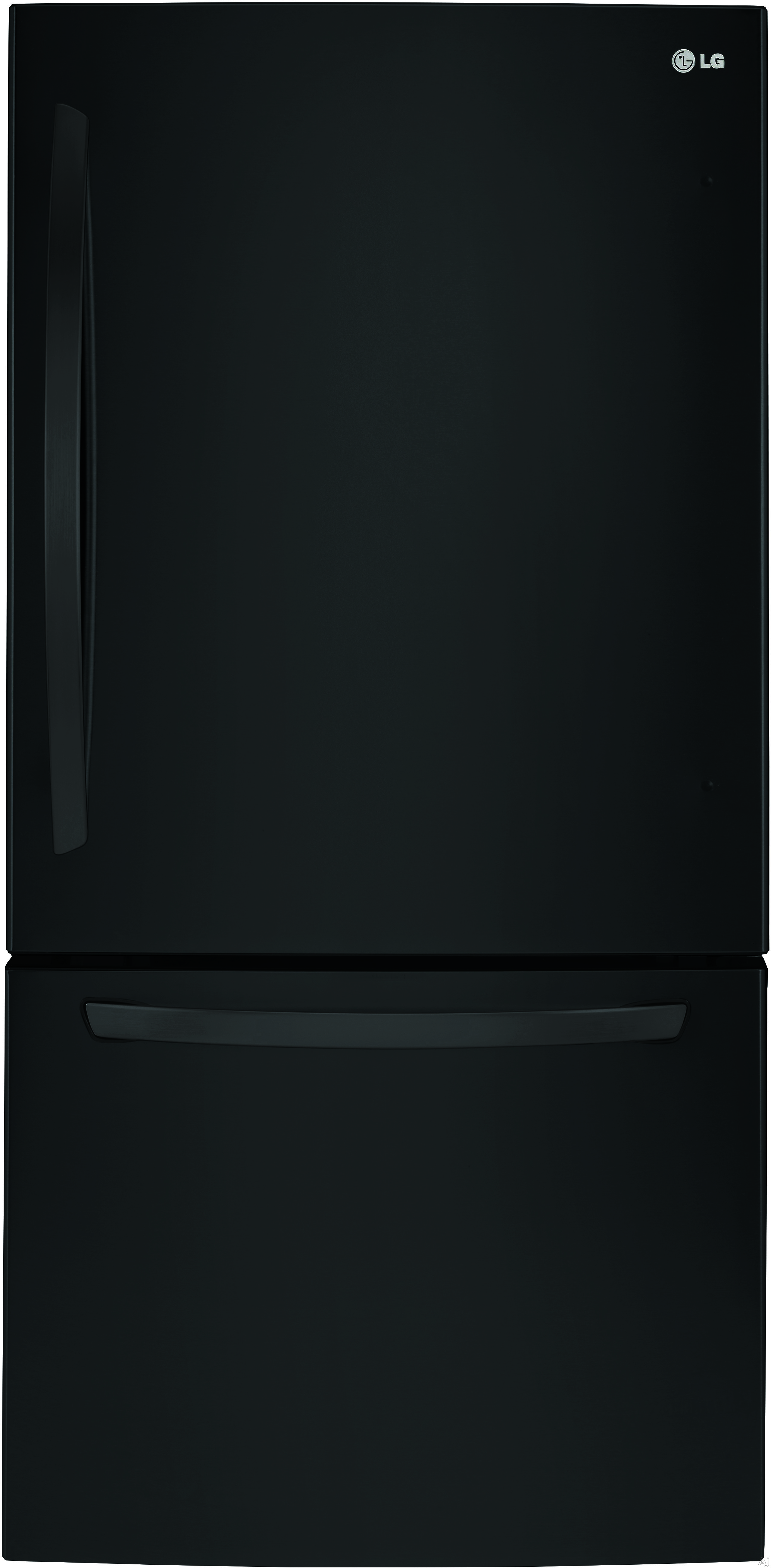 LG LDCS24223B 33 Inch Bottom Freezer Refrigerator with Linear Compressor, Ice Maker, SpillProtector™ Tempered Glass Shelves, Humidity-Controlled Crisper Drawers, Glide N' Serve™ Deli Drawer, SmartDiagnosis™, ENERGY STAR® and 24 cu. ft. Capacity: Black