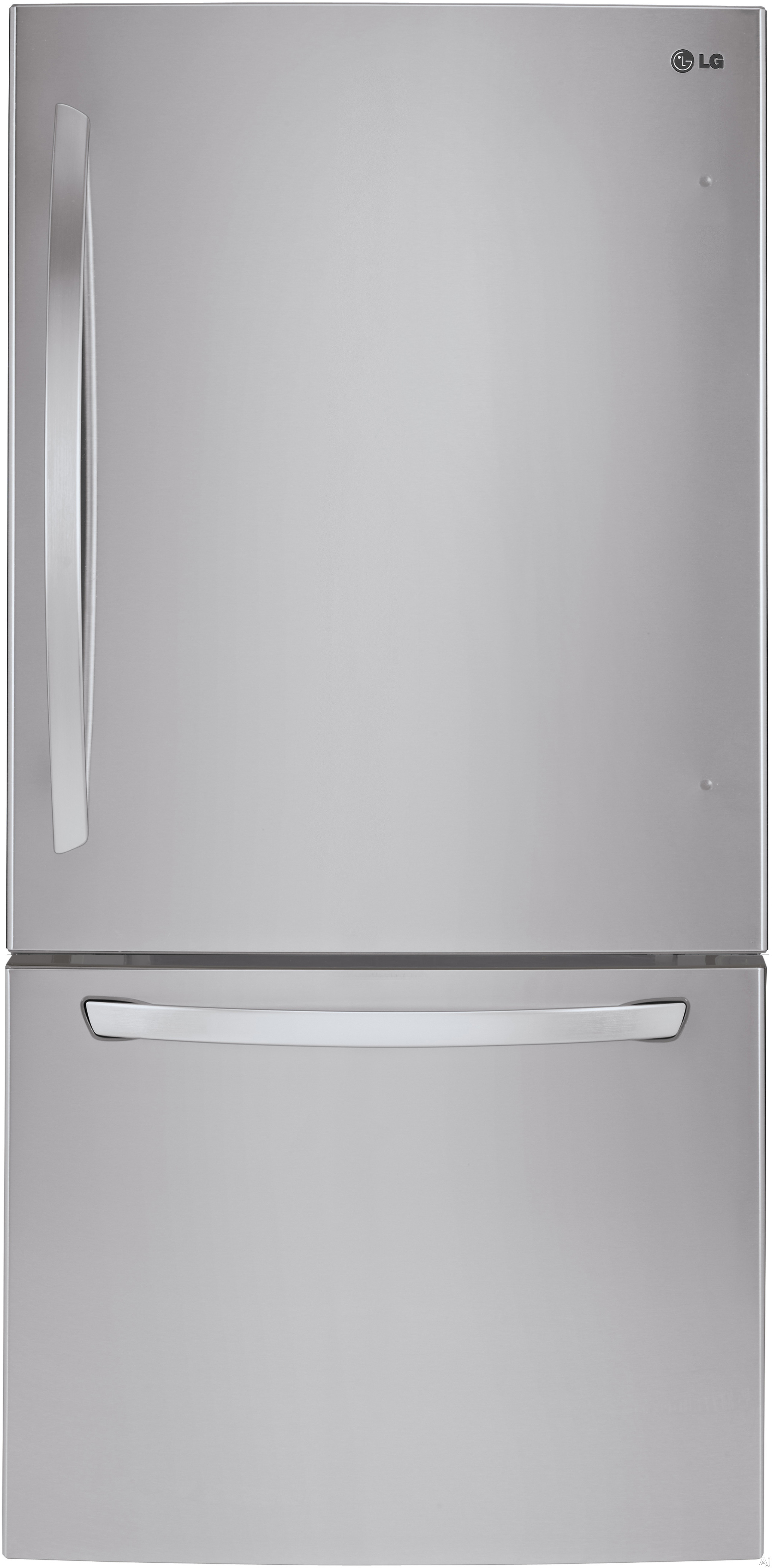 LG LDCS24223 33 Inch Bottom Freezer Refrigerator with Linear Compressor, Ice Maker, SpillProtector™ Tempered Glass Shelves, Humidity-Controlled Crisper Drawers, Glide N' Serve™ Deli Drawer, SmartDiagnosis™, ENERGY STAR® and 24 cu. ft. Capacity
