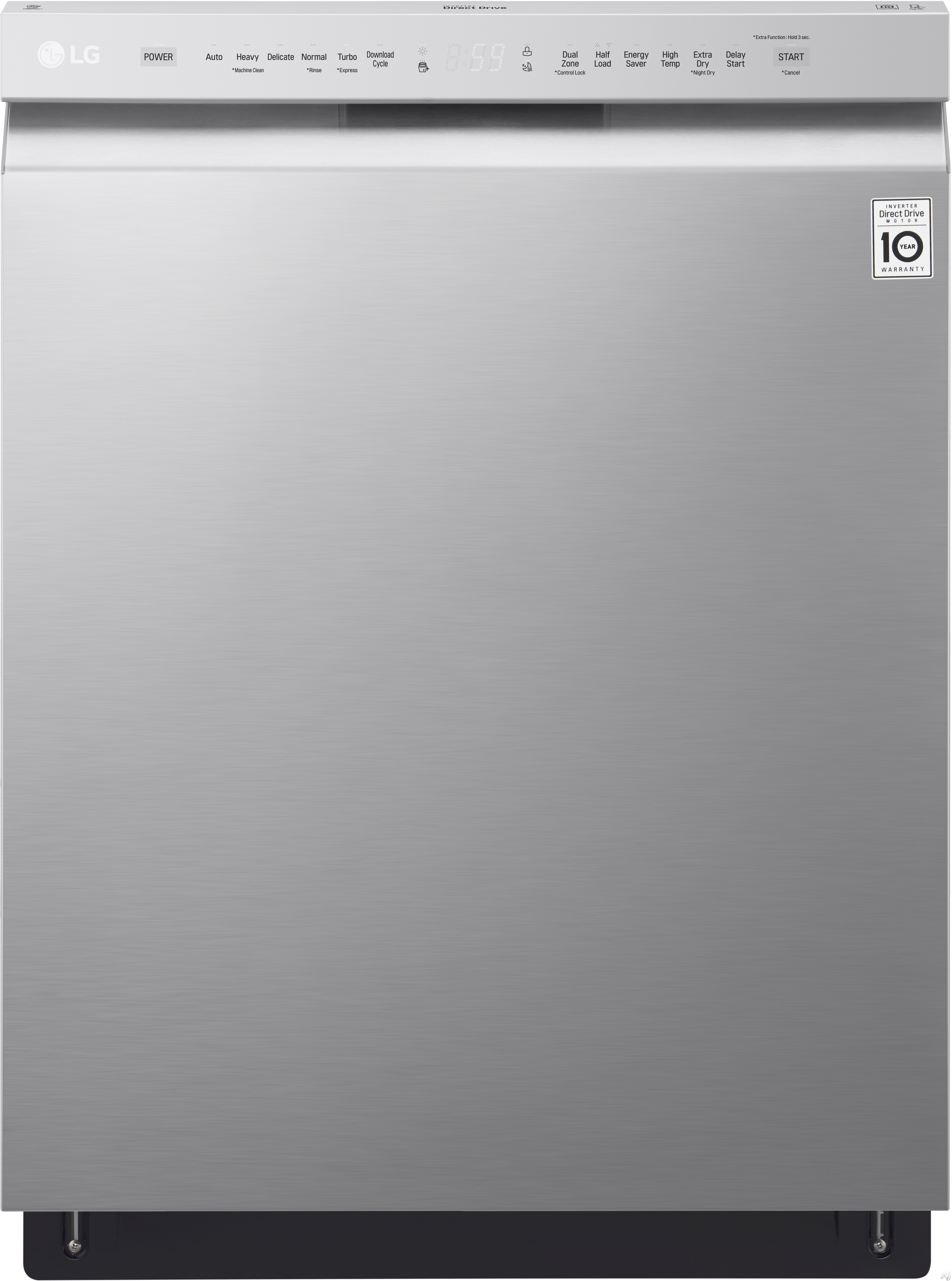 LG LDF5545ST 24 Inch Full Console QuadWash™ Dishwasher with Dual Control™ Cycle, EasyRack™ Plus System, NeveRust™ Stainless Steel, Inverter Direct Drive Motor, 15 Place Setting Capacity, LoDecibel™ Operation 48 dB and ENERGY STAR® Rated: Stainless Steel