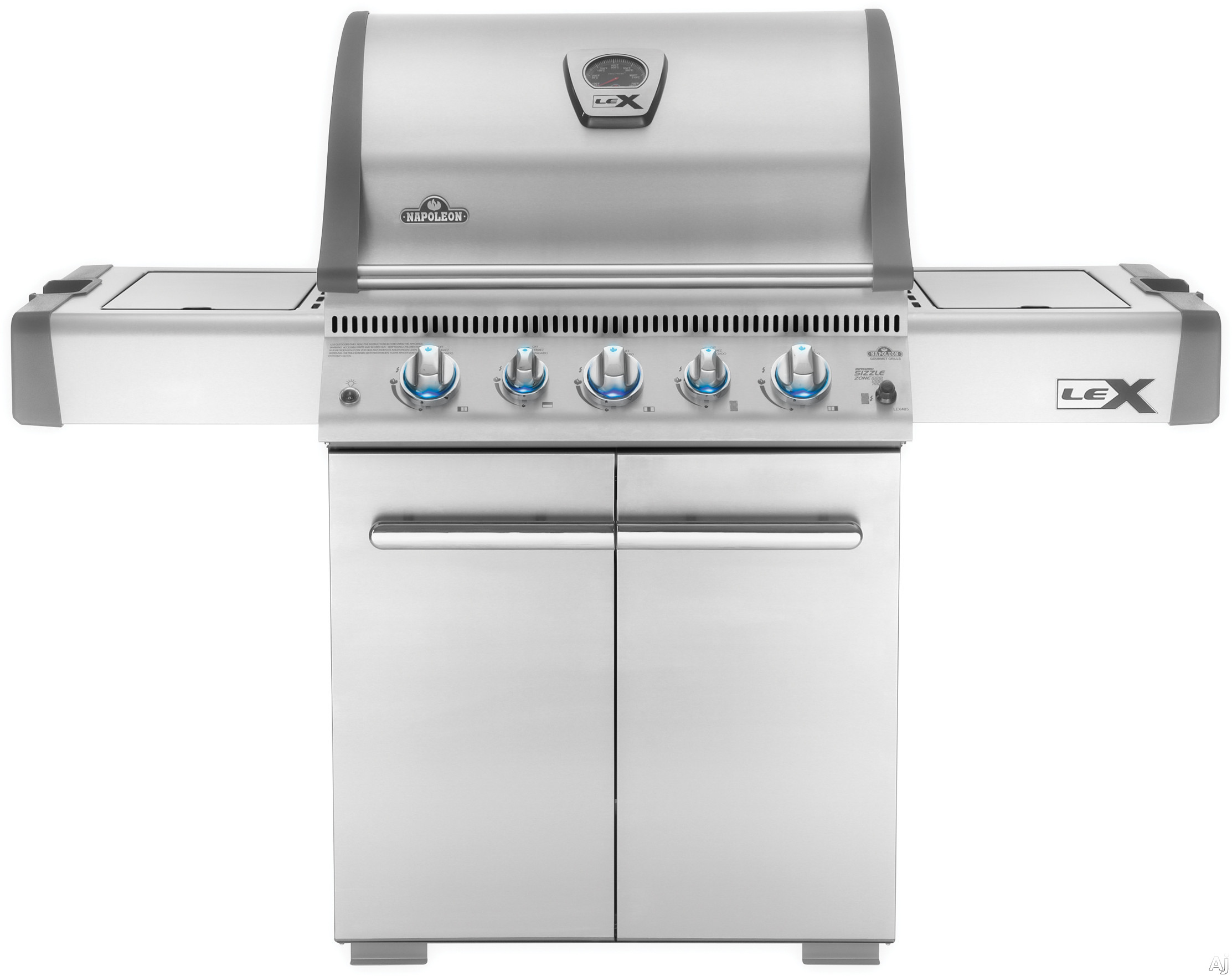 Napoleon LEX Series LEX485RSIBNSS1 62 Inch Freestanding Gas Grill with Infrared Burner, SIZZLE ZONE, i-GLOW, Backlit, 675 sq. in. Cooking Area, 74,000 Total BTU, 4 Burners, Side Burner, Warming Rack a