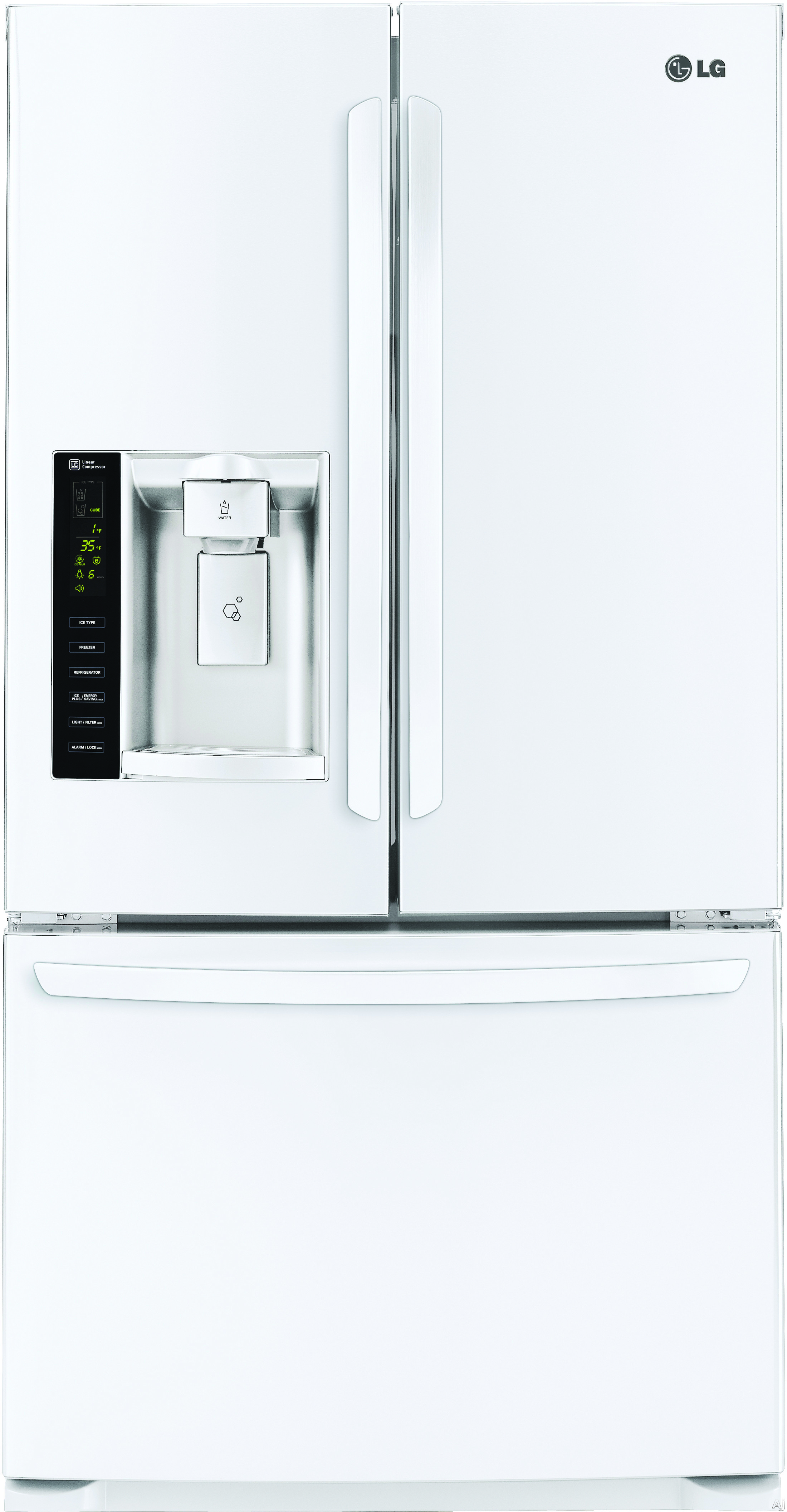 """LG LFX25974SW 36 Inch French Door Refrigerator with Linear Compressor, Slim SpacePlusâ""""¢ System, Air and Water Filtration, SpillProtectorâ""""¢ Shelves, Humidity-Controlled Crispers, Gallon Door Storage, ADA Compliant and 24.7 cu. ft Capacity: White LFX2597"""