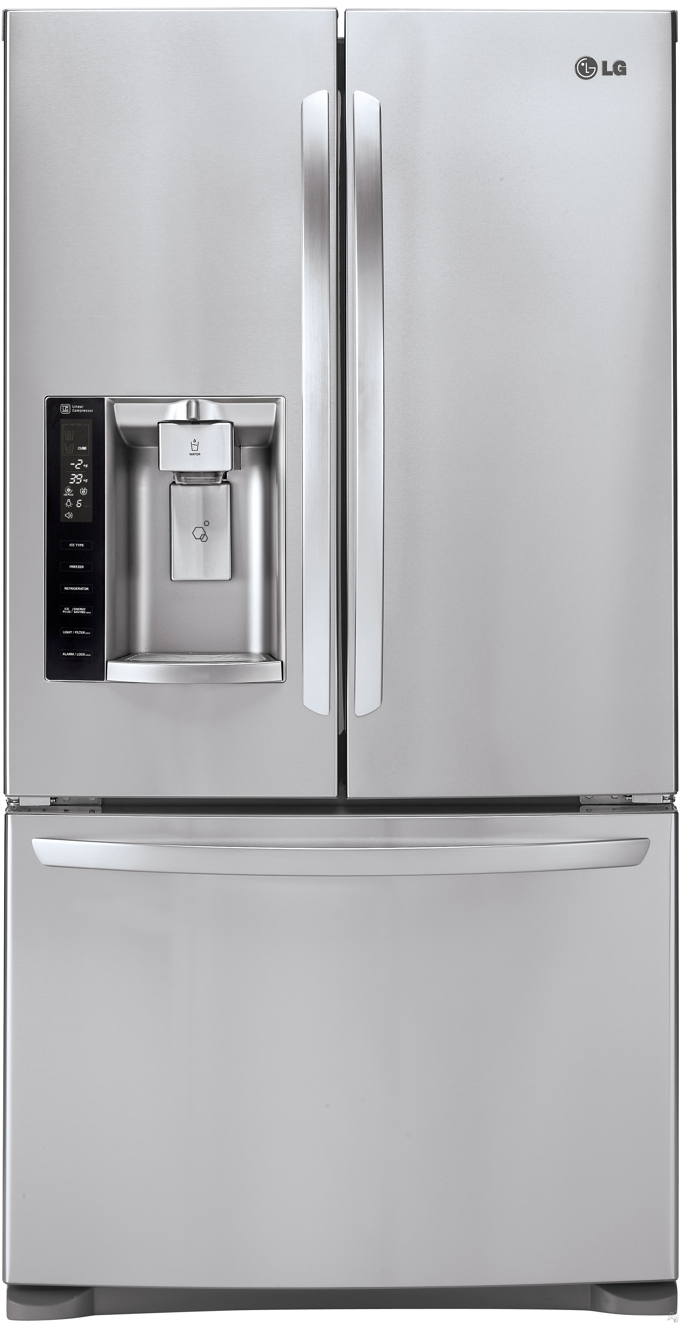 LG LFX28968ST 36 Inch French Door Refrigerator with Slim SpacePlus® Ice System, SpillProof™ Glass Shelving, Linear Compressor, Air and Water Filters, Humidity Controlled Crisper Drawers, Gallon Door Storage, ENERGY STAR®, 26.8 cu. ft. Capacity and Fr