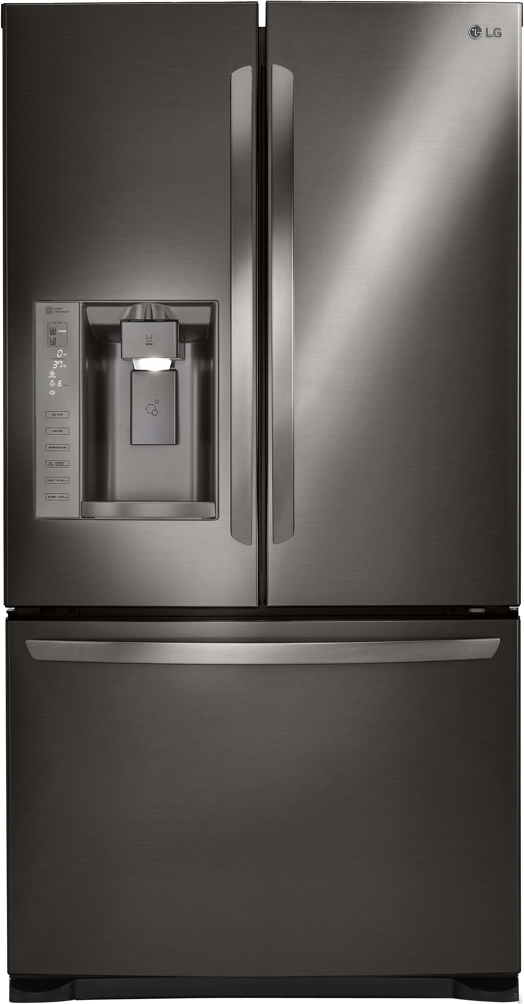 LG LFXS24626D 36 Inch French Door Refrigerator with Linear Compressor, Tall Ice & Water Dispenser®, Slim SpacePlus® Ice System, Air and Water Filtration, Spill Protector™ Glass Shelves, Glide N' Serve® Drawer, ADA Compliant, ENERGY STAR® and 24.1 cu. ft. Capacity