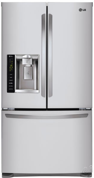 LG LFXS24626S 36 Inch French Door Refrigerator with Linear Compressor, Tall Ice & Water Dispenser®, Slim SpacePlus® Ice System, Air and Water Filtration, Spill Protector™ Glass Shelves, Glide N' Serve® Drawer, ADA Compliant, ENERGY STAR® and 24.1 cu. ft. Capacity