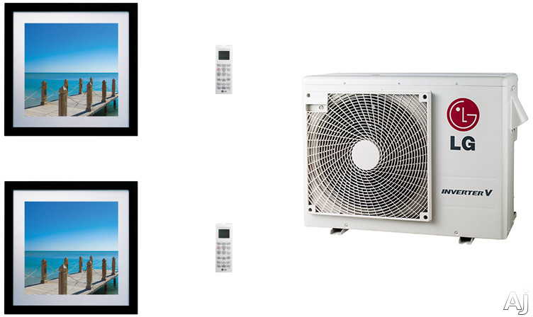 LG Art Cool Gallery LGARG18B3 2 Room Mini Split Air Conditioning System with Heat Pump Low Ambient Operation R 410A Refrigerant Auto Restart and Auto Operation