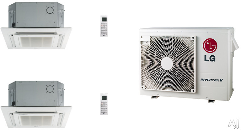 LG LG18KB7 2 Room Mini Split Air Conditioning System with Heat Pump, Low Ambient Operation, R-410A Refrigerant, Auto Restart and Auto Operation LG18KB7